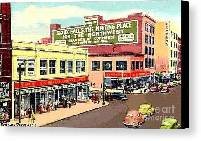 Department Stores Canvas Print featuring the painting Department Stores In Sioux Falls S D by Dwight Goss
