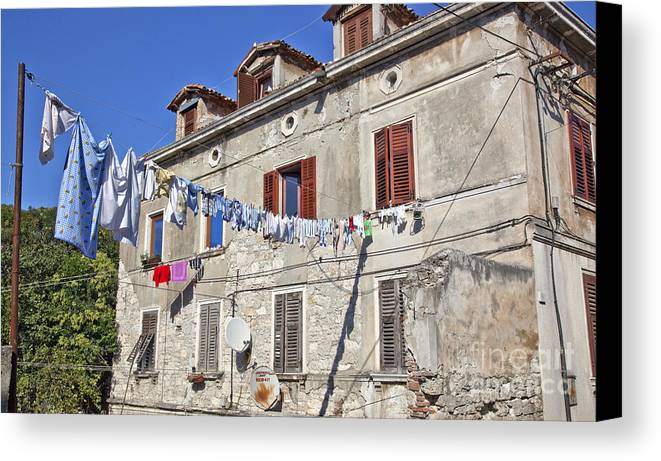Laundry Canvas Print featuring the photograph Hanging Out To Dry In Rovinj by Madeline Ellis