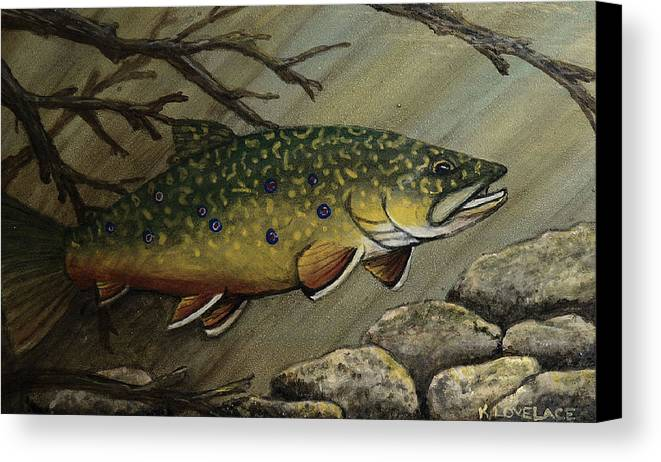 Fish Canvas Print featuring the painting October Glory by Kathy Lovelace