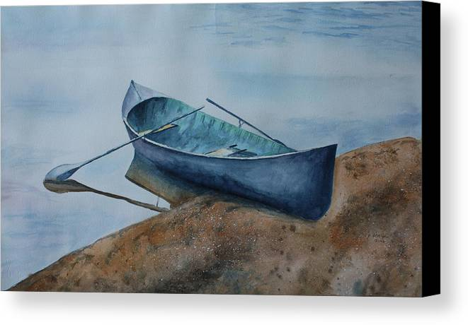 Canoe Canvas Print featuring the painting Solitude by Patsy Sharpe