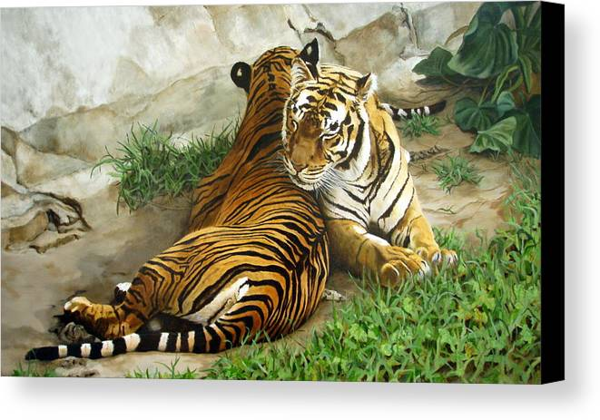 Tiger Canvas Print featuring the painting Wild Content by Sandra Chase
