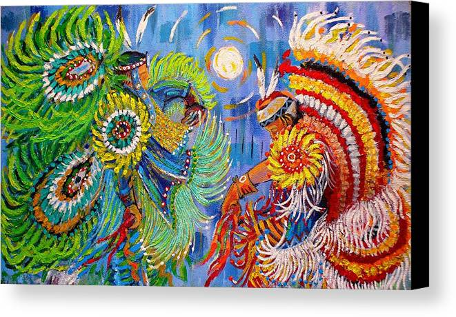 Dancing Canvas Print featuring the painting Fancy Dancers by Arnold Isbister