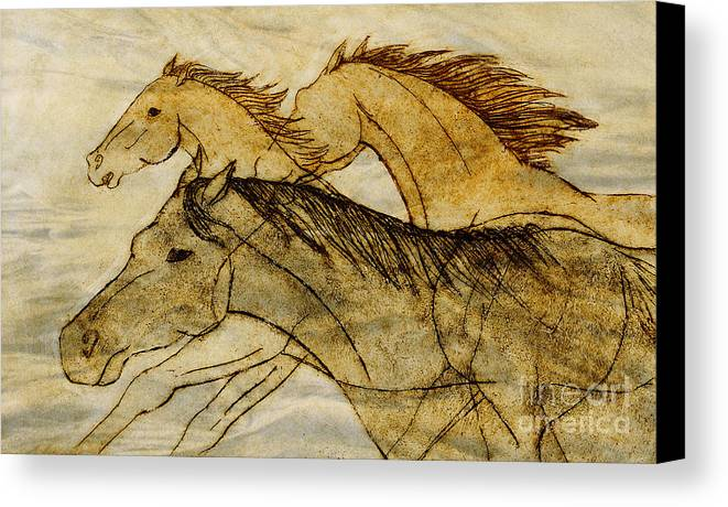 Horses Canvas Print featuring the drawing Horse Sketch by Nareeta Martin