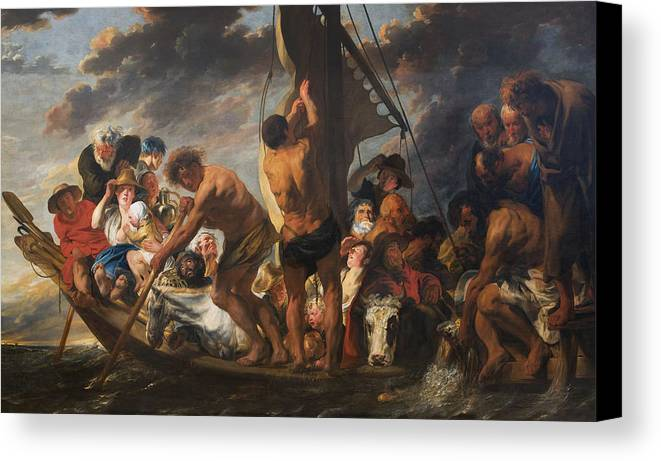 Animal Canvas Print featuring the painting The Ferry Boat To Antwerp by Jacob Jordaens