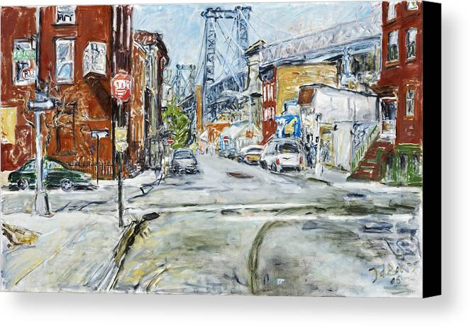 City Scape New York Bridge Road Houses Cars Canvas Print featuring the painting Williamsburg3 by Joan De Bot