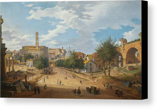 Giovanni Paolo Panini Rome Canvas Print featuring the painting A View Of The Forum Looking Towards by Giovanni Paolo