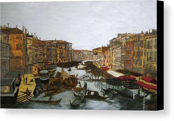 Landscape Canvas Print featuring the painting After The Grand Canal by Hyper - Canaletto