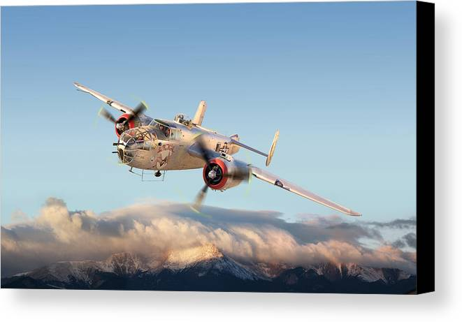 B-25 Mitchell Bomber Art Print Canvas Print featuring the photograph B-25 Mitchell Bomber by Larry McManus