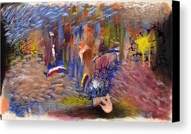 Abstract Canvas Print featuring the painting Confrontation by Nathaniel Hoffman