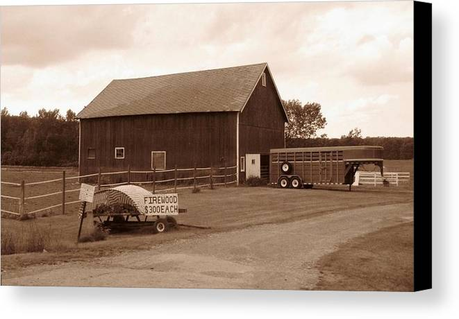 Barn Canvas Print featuring the photograph Firewood For Sale by Rhonda Barrett