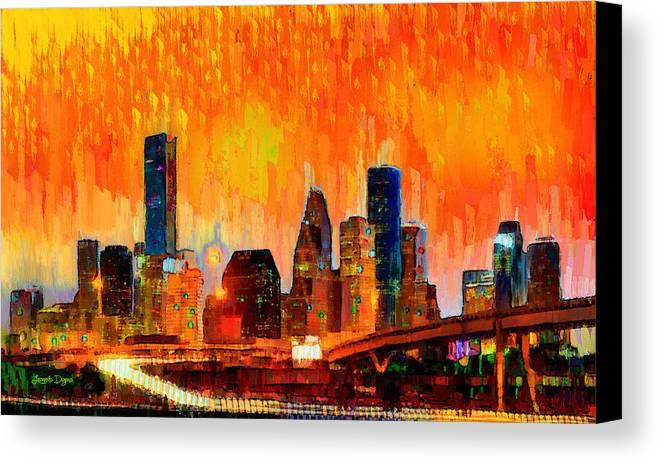 Houston Skyline Canvas Print featuring the painting Houston Skyline 119 - Pa by Leonardo Digenio