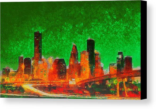 Houston Skyline Canvas Print featuring the painting Houston Skyline 133 - Pa by Leonardo Digenio