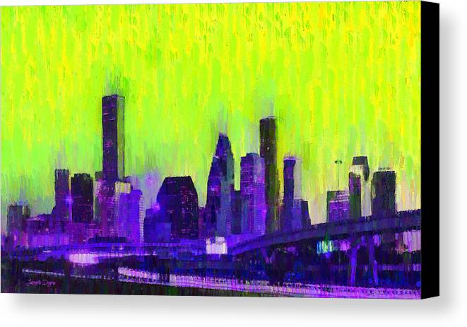Houston Skyline Canvas Print featuring the painting Houston Skyline 84 - Pa by Leonardo Digenio
