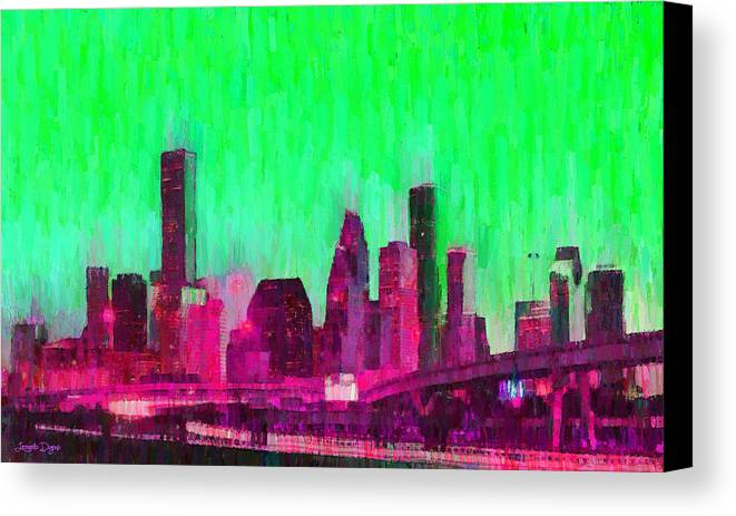 Houston Skyline Canvas Print featuring the painting Houston Skyline 86 - Pa by Leonardo Digenio