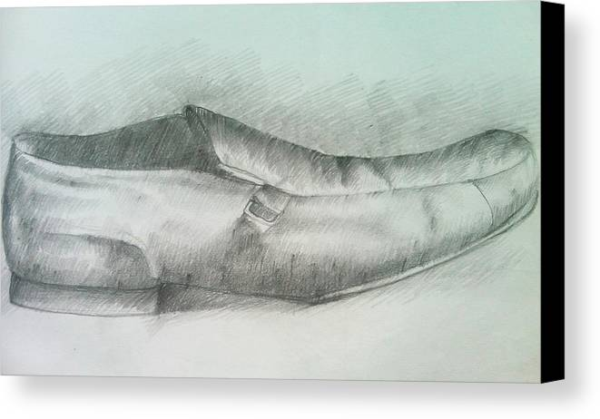 Drawings Canvas Print featuring the drawing My Shoe by Olaoluwa Smith