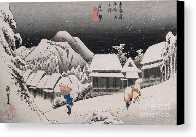 Night Snow Canvas Print featuring the painting Night Snow by Hiroshige