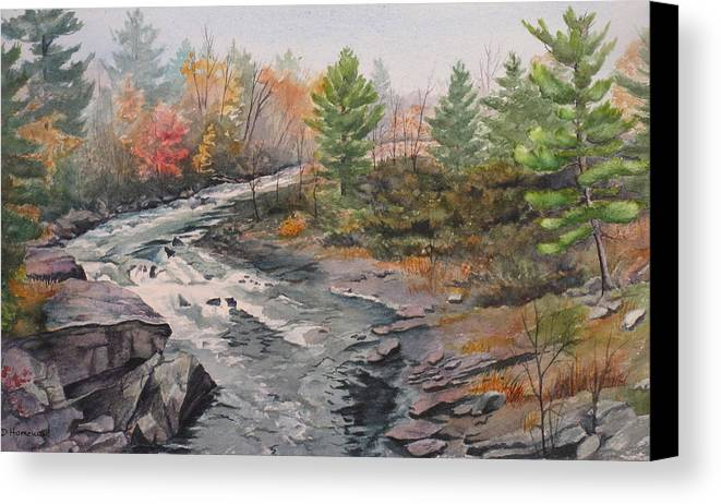 Burleigh Canvas Print featuring the painting Old Burleigh Stream by Debbie Homewood