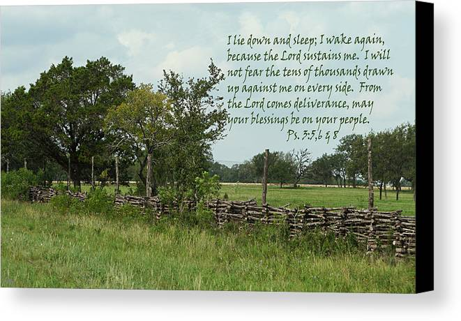 Scripture Canvas Print featuring the photograph Old Fashioned Fence Psalm Three Vs Five Six And Eight by Linda Phelps