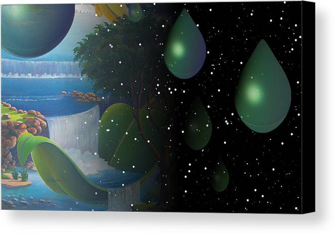 Suarrealism Canvas Print featuring the painting Planet Water by Leomariano artist BRASIL