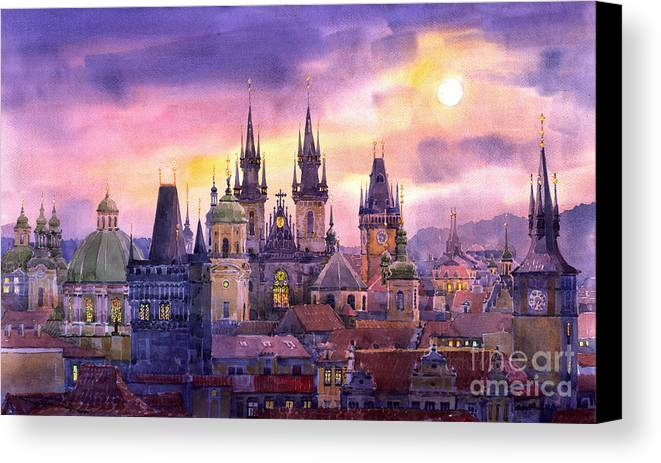 Architecture Canvas Print featuring the painting Prague City Of Hundres Spiers Variant by Yuriy Shevchuk