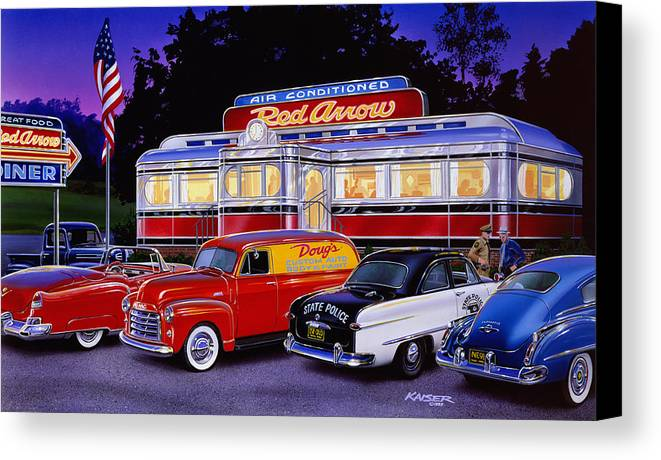 Old Style Canvas Print featuring the photograph Red Arrow Diner by Bruce Kaiser
