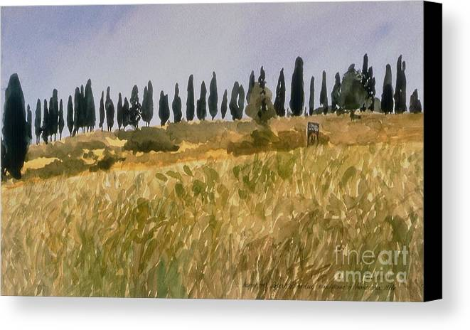 Italy Canvas Print featuring the painting Row Of Cypress Trees, Tuscany by Robert Bowden
