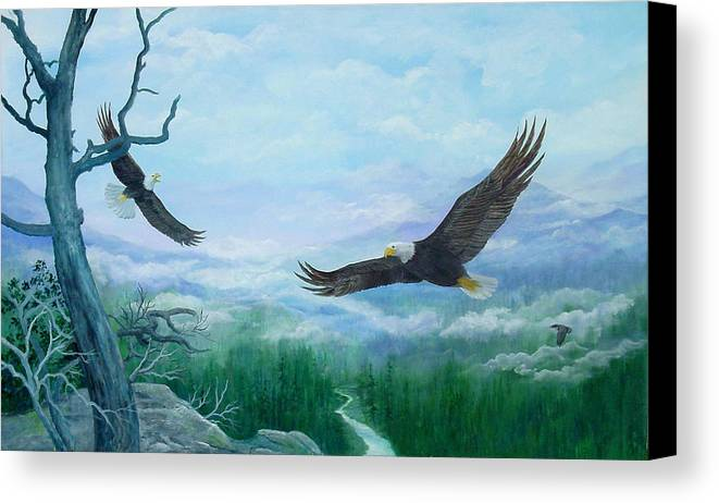Eagles;birds;river Valley;mountains;sky; Canvas Print featuring the painting Soaring by Lois Mountz