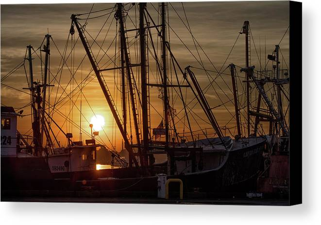 Aj Photographic Art Canvas Print featuring the photograph Sunrise Over The New Bedford Harbor by John Hoey