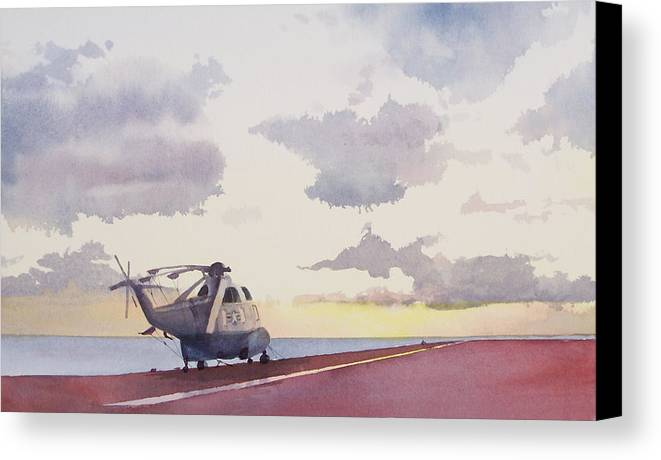 Navy Canvas Print featuring the painting Sunrise Uss John F. Kennedy by Philip Fleischer