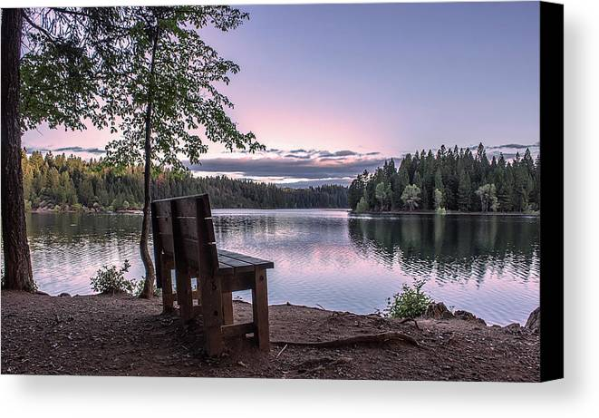 Landscape Canvas Print featuring the photograph The Bench by Jeanette Hunter