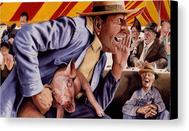 Country Fair Canvas Print featuring the painting The Buffoon And The Countryman by Denny Bond