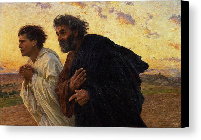 The Canvas Print featuring the painting The Disciples Peter And John Running To The Sepulchre On The Morning Of The Resurrection by Eugene Burnand