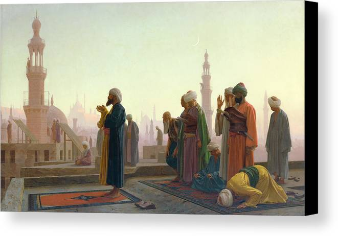 The Canvas Print featuring the painting The Prayer by Jean Leon Gerome
