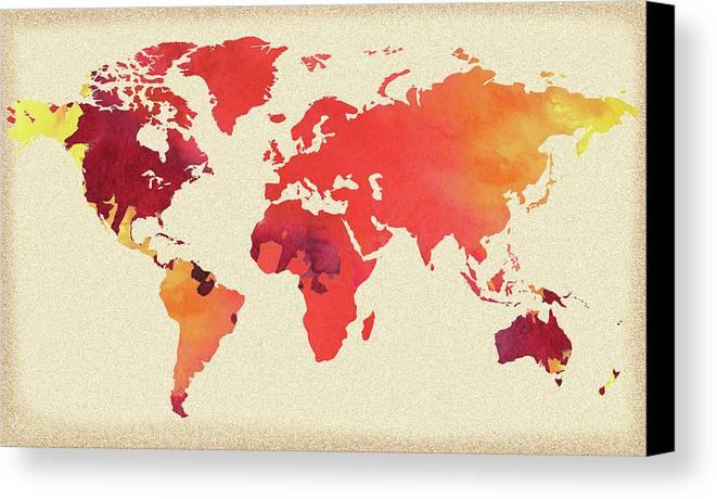 Vibrant hot watercolor world map canvas print canvas art by irina world canvas print featuring the painting vibrant hot watercolor world map by irina sztukowski gumiabroncs Gallery