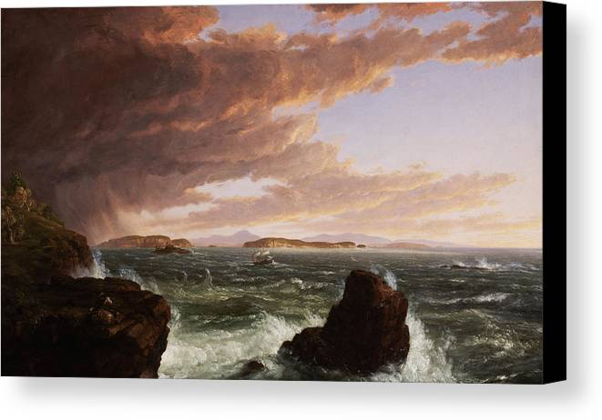 Stormy Weather Canvas Print featuring the painting View Across Frenchman's Bay From Mt. Desert Island After A Squall by Thomas Cole