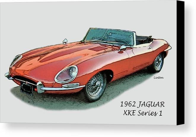Jaguar Canvas Print featuring the digital art XKE by Larry Linton