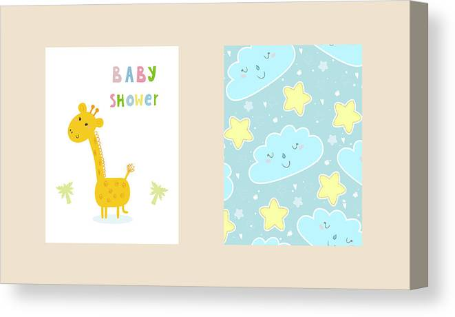 picture relating to Baby Shower Cards Printable identified as Boy or girl Shower Card Design and style. Lovely Hand Drawn Card With Giraffe. Printable Template. Canvas Print