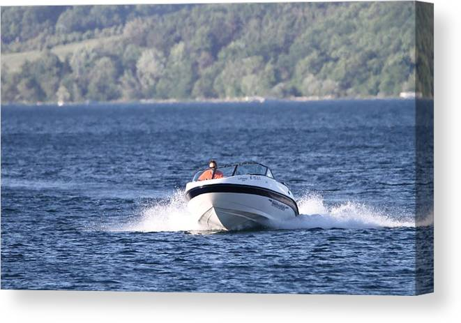 Boating On Grand Traverse Bay Canvas Print featuring the photograph Boating On Grand Traverse Bay by Dan Sproul