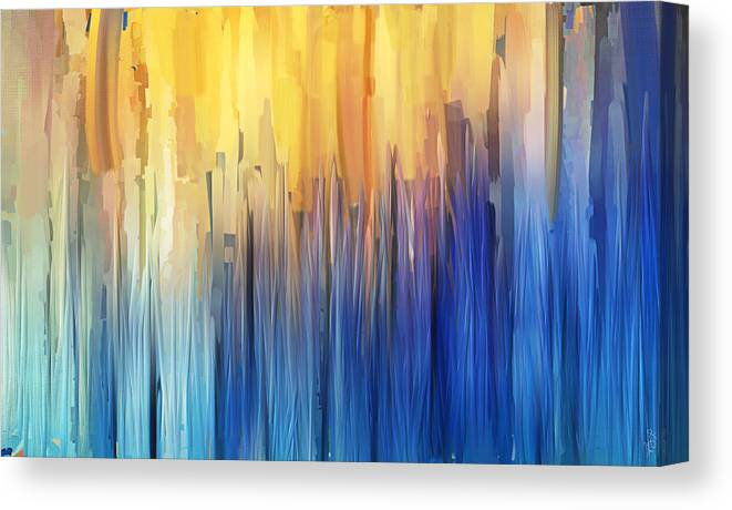 ae038d4ac4a Blue Canvas Print featuring the painting Each Day Anew by Lourry Legarde
