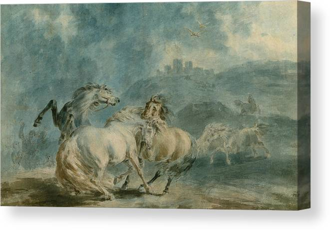 Horse Canvas Print featuring the painting Horses Fighting by Sawrey Gilpin