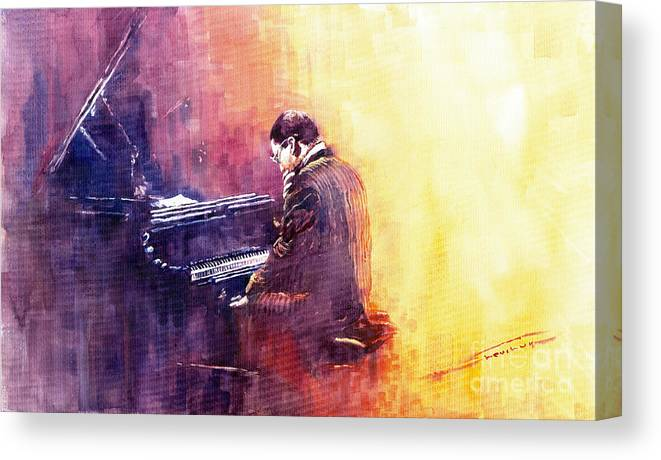 Jazz Canvas Print featuring the painting Jazz Herbie Hancock by Yuriy Shevchuk