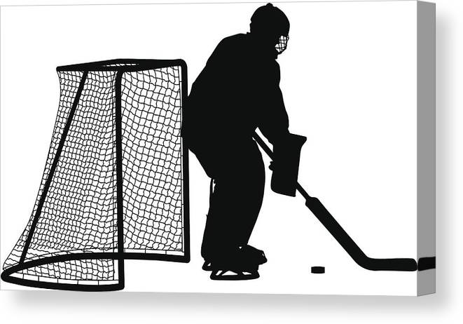 Silhouette Of Hockey Goalkeeper Isolated On White Vector