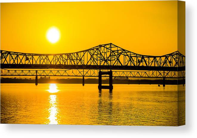 Sunset Canvas Print featuring the photograph Sunset Bridge by Daniel Cline