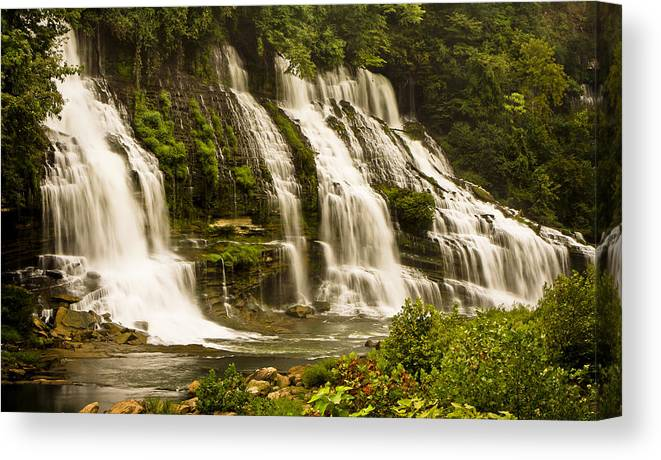 Rock Island Canvas Print featuring the photograph Twin Falls by Michael Hodges