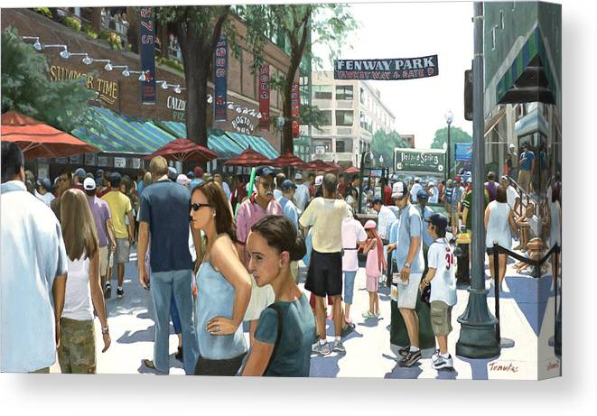 Red Sox Canvas Print featuring the painting Yawkey Way by Linda Tenukas