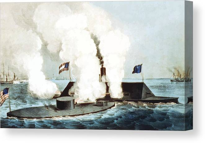 Monitor Canvas Print featuring the painting Battle Of The Monitor And Merrimack by War Is Hell Store