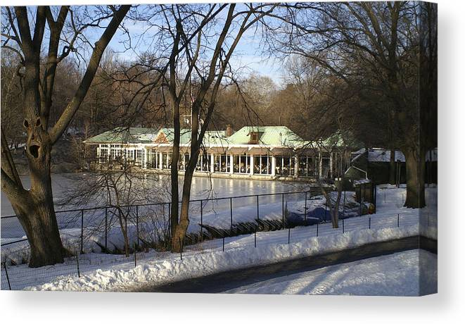 Boat Canvas Print featuring the photograph Boat House Central Park Ny by Henri Irizarri