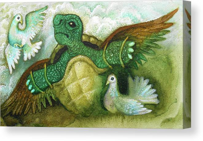 Turtle Pigeon Crawling Fly Animals And Birds Canvas Print featuring the painting Born For Crawling Will Not Fly by Leon Zernitsky