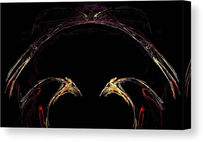 Bird Canvas Print featuring the digital art Duel by Dom Creations
