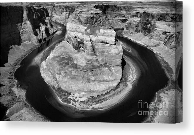 Horseshoe Bend Canvas Print featuring the photograph Horseshoe Bend Black White by Chuck Kuhn